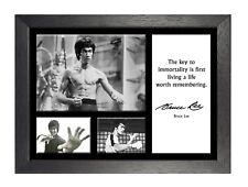 Bruce Lee 16 cita famosa inmortalidad clave leyenda de icono Firmado Póster de artes marciales