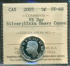 """2005 Canada 5 cent """"VE Day"""" Silver UHC ICCS PF-68"""