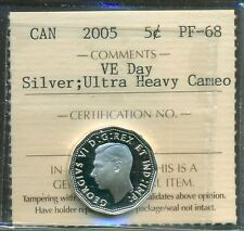 "2005 Canada 5 cent ""VE Day"" Silver UHC ICCS PF-68"