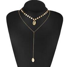 Women Fashion Long Shell Drop Necklaces Choker Bohemia Round Disc Boho Necklace