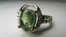 With Accents Band Ring Size 6.75 Sterling Silver 925 Oval Green Cubic Zirconia