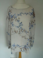 Emma & Olivia Top Size XL UK 16 Cream Floral Blouse Smart Casual Office Weekend