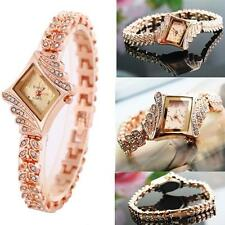 Women's Rose Gold Plated Alloy Rhinestone Crystal Bracelet Wrist Watch Gifts WE