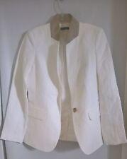 Tommy Hilfiger Women Linen Blend  Ivory/Tan One Button Jacket Size 6