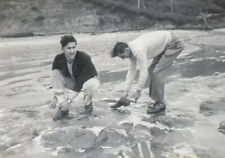 1948 Vintage Old Photo Men Wash River Shoes Weird Couple Guys Male Tense Buddies