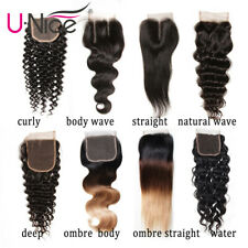4x4 Human Hair Lace Closure Peruvian Curly/Straight/Deep/Body Wave Ombre Closure