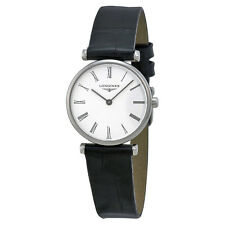 Longines La Grande Classique White Dial Black Leather Ladies Watch L4.209.4.11.2
