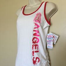 Girls Youth Size L Large 14 MLB Los Angeles Angels Tank Top New White Red Pink