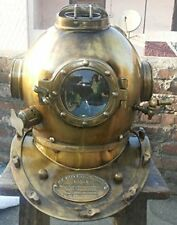"Scuba Diving Divers Helmet U.S Mark V Solid Steel Original Antique 18"" Yellow"