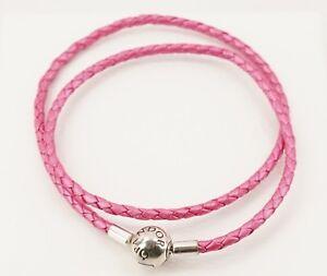 New Authentic PANDORA Honeysuckle Pink Double Braid Leather Bracelet 590734