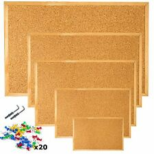 Cork Pin Message Notice Board Wooden Frame + 20 Push Pins + Wall Fixings