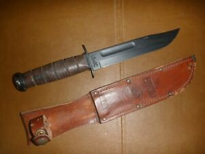 KA-BAR USMC Stacked Leather Grip Handle Fighting Fixed Blade Knife w/ holder