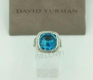 David Yurman Sterling Silver Albion Ring 11mm with Blue Topaz & Diamonds Size 9