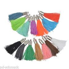 FL 50pc Mehrfarbig Quasten Troddel Anhänger Seide Kappe Tassel für Kleidung 3cm