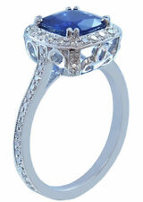 10K WHITE GOLD CUSHION CUT SAPPHIRE AND DIAMOND DECO ANTIQUE STYLE RING 3.00CTW