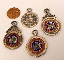 Rare lot de 4 argent massif antique clitheroe Athletic médailles long jump SAUT haute