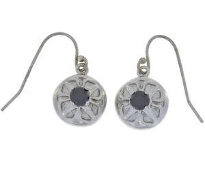 Genuine Black Onyx Round Dangle Earrings White Gold Silver