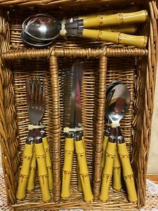 VGT Cambridge Flatware Faux Bamboo Handle Stainless Flatware Tiki 16-Pieces NEW!