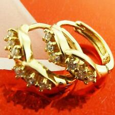 HUGGIE HOOP EARRINGS REAL 18K YELLOW GOLD G/F DIAMOND SIMULATED DESIGN FS3A013
