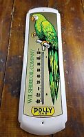 POLLY GAS WILSHIRE GASOLINE COMPANY GREEN PARROT METAL ADVERTISING THERMOMETER