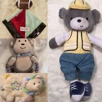 LOT Baby Plush Toys Blue Security Blanket Lovey Rattle Stuffed Bear Ball