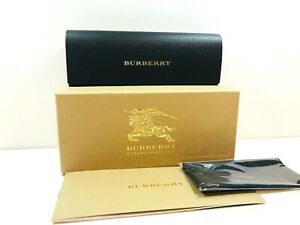 Burberry Eyeglasses Case Black Hard Case New Authentic w/ Kit -Box Cloth Book-
