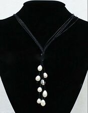 Fashion Black Leather Rope & White Freshwater Pearl Necklace 20'' Long