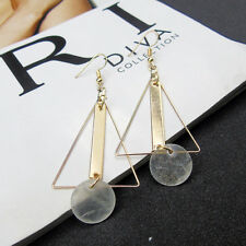 Geometric Triangle Simple Shells Tassel Earrings Women Fashion Long Hook Earring