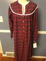 NWT Lanz of Salzburg Flannel Henley Nightgown Red Plaid Long Gown 100% cotton