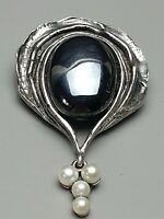 Große Vintage Silber Brosche von Perli - 925 Silber Pe punz. Blutstein & Perlen