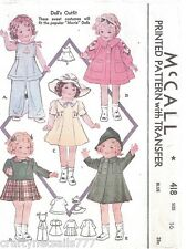 418 Doll Clothes for Shirley Temple & Movie Dolls Size 16 Vintage Sewing Pattern
