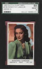 1952 DUTCH GUM CARD #139 DOROTHY LAMOUR SERIE D SGC GRADED NM-MT BLANK BACK *ABC