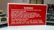 FWH Fairey Free Wheel Hubs Info Dash Bulkhead Decal Land Rover Series 1 2 2a 3