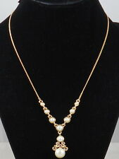 Givenchy Goldtone Blush Crystal Faux Pearl Y Drop Necklace 60484341-887 $58