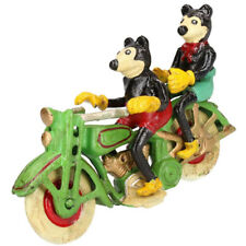 Disney Mickey and Minnie Mouse on Green Motorcycle - Cast Iron Ornament Figures