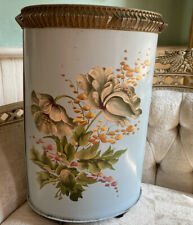 Beautiful Shabby Italian Tole Waste Basket Pale Blue Hand Painted  Flowers Chic