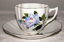 Royal Imperial Eng. Bone China Fancy Shaped Blue Roses Gold Cup & Saucer Set EXC