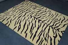 8 x 10 Animal Print Tiger Design Wool Handmade Rug Beige Hand Tufted Carpet Rug