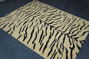 8 x 10 Animal Print Tiger Design Wool Handmade Rug Beige Hand Tufted Carpet Rug