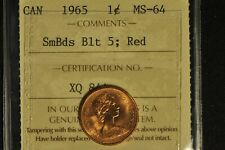 Canada 1965 Penny - SmBds Blt 5, Red - ICCS - MS-64