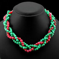 ELEGANT BEST QUALITY 276.50 CTS RED RUBY & GREEN EMERALD BEADS NECKLACE STRAND