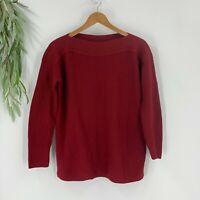 J.Jill Womens Sweater Size XS  Pullover Boat Neck Long Sleeve Red Knit Cotton