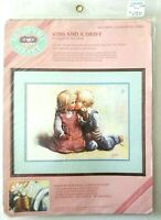 Vintage From the Heart Kiss and a Daisy No Count Cross Stitch Kit 53904 children