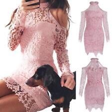 Abito ricamato nudo Pizzo Cerimonia Cocktail Ballo Floral Lace Party Dress L