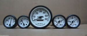 Willys MB Jeep Ford GPW CJ - Speedometer Temp Oil Fuel Amp Gauges Kit Wh blk