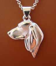 Large Sterling Silver Black And Tan Coonhound Head Study Pendant