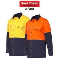 Mens Hard Yakka Long Sleeve Work Shirt 2PK Hi-Vis Cotton KoolGear Summer Y07730