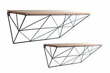 Set of 2 Geometric Design Black Wire Wall Shelves