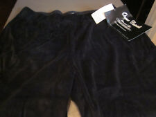 NEW $40 ONQUE CASUALS WOMENS BLACK VELOUR PANTS SIZE LARGE