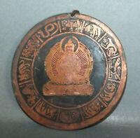 Large Buddhist Copper Amulet Pendant w Buddha and Zodiac Nepal
